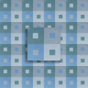 cementina decoro quadro blu