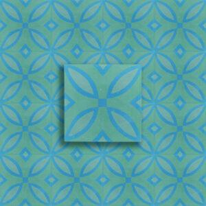 cementina decoro fiocchi verde e blu
